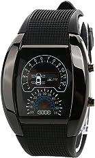 Dial Waterproof Unisex Blue Light LED Sports Wrist Watch with Date Week