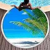 Rundes Strandtuch zum Sonnenbaden, tragbare Picknickdecke, stilvolle Yogamatte, Tischdecke, Sporttuch, A18, 150 × 150 cm