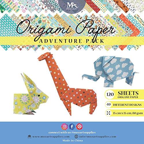 MozArt Supplies Origami Papier Adventure Pack Set – 120 Faltblätter – traditionelles japanisches Bastelpapier mit 40 Mustern, Blumen, Tieren, Azteken – basteln Sie Blumen, Kraniche, Vögel