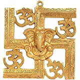 Elite Brass Wall Hanging Of God Ganesh/ Ganpati A With Spiritual - Golden Om On Swastik Sign Wall Hanging | Home Décor - Size - (HxWxD) - (8.7 X 8 X 0.7) Inches By Crafthut