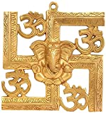 Elite Brass Wall Hanging of God Ganesh/Ganpati a with Spiritual - Golden Om on Swastik Sign Wall Hanging | Home Décor - Size - (HxWxD) - (8.7 x 8 x 0.7) inches by Crafthut