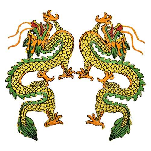 Kesheng 1 Par de Parches Bordado Termoadhesivo Dragón Chino de Costura para Decoración de Ropa