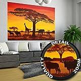 Papel pintado fotográfico, Puesta del Sol en África ? African Sunset ? Imagen mural Safari en África - decoración mural XXL by GREAT ART (210 x 140 cm