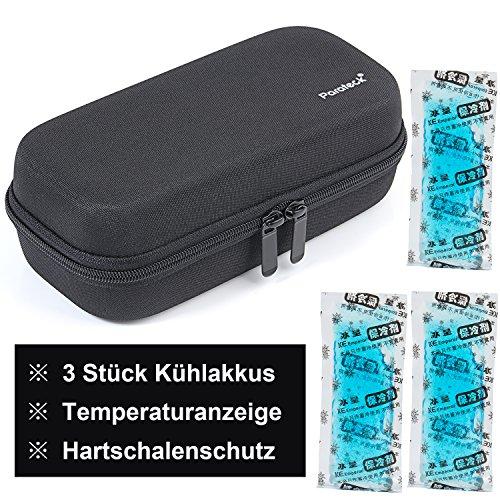 Temperaturanzeige Medikamente Kühltasche Insulin kühler Tasche mit 3 Kühlakkus Reisepackungen für Diabetiker 20.5X9.5X7cm (Schwarz)