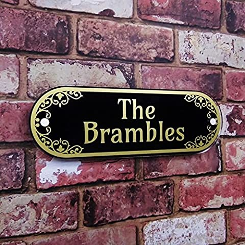 HOUSE NAME PLATE ADDRESS PLAQUE DECORATIVE GLASS EFFECT PROPERTY SIGN SLATE GREY