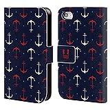 Head Case Designs Rote und Weisse Anker Marine Muster Brieftasche Handyhülle aus Leder für Apple iPhone 4/4S