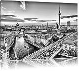 Monocrome, Skyline von Berlin , Format: 120x80 auf Leinwand, XXL riesige Bilder fertig gerahmt mit Keilrahmen, Kunstdruck auf Wandbild mit Rahmen, günstiger als Gemälde oder Ölbild, kein Poster oder Plakat