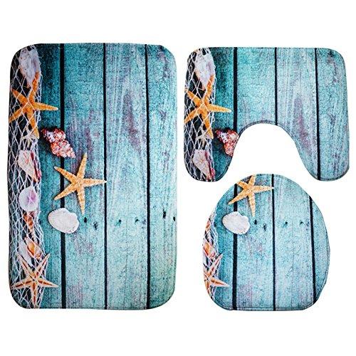 Moolecole Badematte, Strand, Seashells Starfish Sand Urlaub Sommer Weiche French Samt Badezimmer Teppich Teppich Anti-Rutsch 3 Stück Badematte Set Starfish Floor Badezimmer-teppiche-sets, Tan