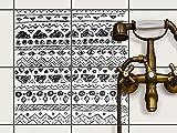 Fliesenspiegel Dekorationssticker | Fliesen-Sticker Aufkleber Folie selbstklebend Bad renovieren Küche Bad Ideen | 20x20 cm Design Motiv Ethno Art - 4 Stück
