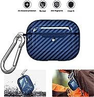 AMERTEER Apple AirPods Pro Case Carbon Fiber TPU Shockproof Charging Skin Case Cover (blue)