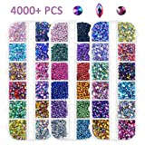 Strass per nail art, 4000 pezzi, retro piatto tagliente/semi-giro/occhio di cavallo multicolore strass per la decorazione delle unghie (pinza per raccogliere gratis)