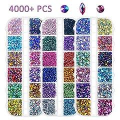 Idea Regalo - Strass per nail art, 4000 pezzi, retro piatto tagliente/semi-giro/occhio di cavallo multicolore strass per la decorazione delle unghie (pinza per raccogliere gratis)