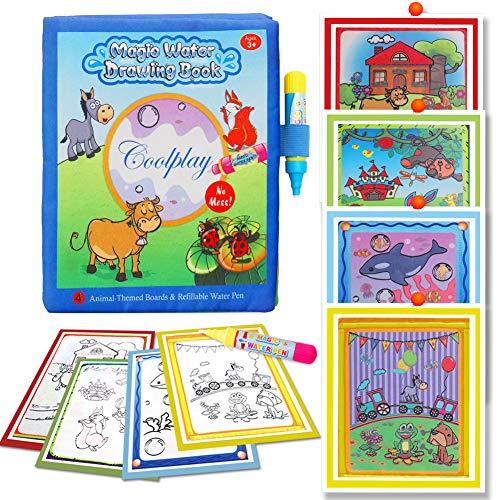 BBLIKE magisch Wasser Zeichnen Malbuch Matte, Malbücher kritzeln mit 2 Zauberstift Wiederverwendbare Malerei Brett Kreative Spielzeug Geburtstagsgeschenke 3+ Jahre alte Kinder -