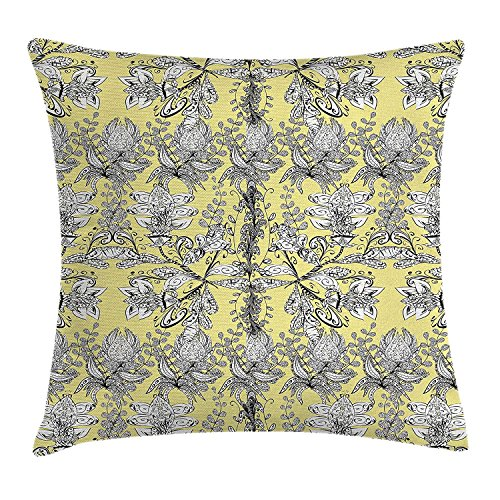 XIAOYI Grey and Yellow Throw Pillow Cushion Cover, Ethnic Tribal Bohem Design with Flowers Leaves Swirls and Dots Image, Decorative Square Accent Pillow Case, 18 X18 Inches, Black and White -
