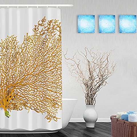Red Sea Fan Coral Decor Bathroom Shower Curtain Beautiful Marine Lifes Shower Curtains Waterproof Mildewproof Polyester Fabric 36