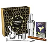 bar@drinkstuff Manhattan Cocktail Set | Cocktail Shaker Set and Home Cocktail Making Kit with Recipe Book, 750ml Shaker, Strainer, Muddler, Twisted Mixing Spoon, 25ml & 50ml Thimble Bar Measures