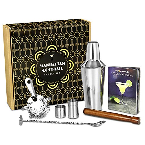 Manhattan Cocktail Shaker Set in Recyclable Box by bar@drinkstuff Home Cocktail Making Kit with Manhattan Shaker,...