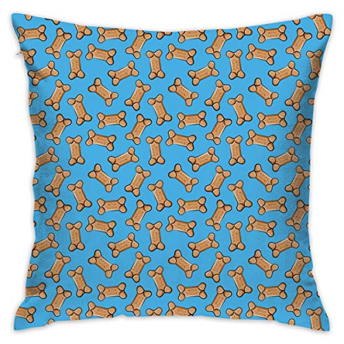 Mabell Beautifully Decorated Home (Micro Scale) Dog Bones - Dog Treats - Blue C19BS Throw Pillow Case 18X18 Inches - Body Contour Spa