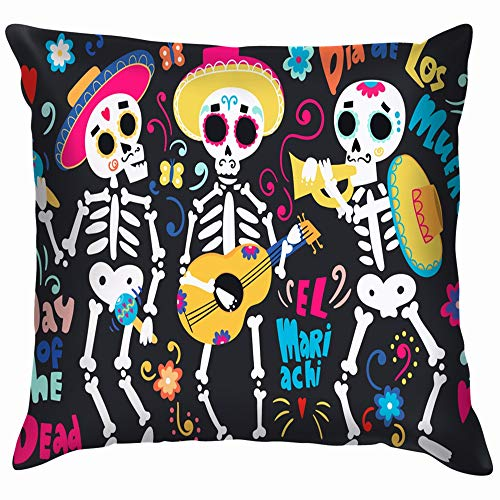 Day Dead Band Mariachi Skeletons All Skull Cotton Linen Home Decorative Throw Pillow Case Cushion Cover for Sofa Couch 18X18 Inch
