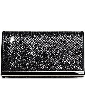 CASPAR TA344 Damen kleine elegante Glitzer Clutch Tasche / Abendtasche mit Metallspange