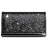 CASPAR TA344 Damen kleine elegante Glitzer Clutch Tasche/Abendtasche mit Metallspange, Farbe:schwarz;Größe:One Size