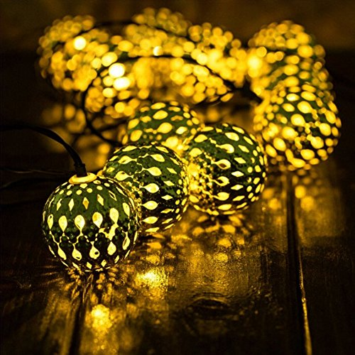 XIHAB Solar Lichter Schnur 20 Lichter Outdoor LED Marokkanischen Ball Eisen Silber Indoor/Outdoor Wasserdichte Terrasse, Weihnachtsbaum, Party, Home Christma Landschaft Dekoration Lampe,Yellow (Halloween Hängende Schnur Dekorationen)