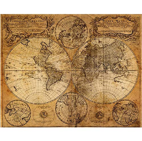qwerz Large Size Vintage Globe Old World Ancient Map Poster Bar Home Decor Retro Kraft Paper Painting 60x48cm Wall Sticker (Old World Globe)