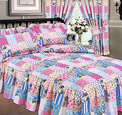 Patchwork Blue Double Bed Fitted Bedspread & 2 Pillow Shams, Traditional Frilled Quilted Diamond Effect, Extra Deep Side Frill 24