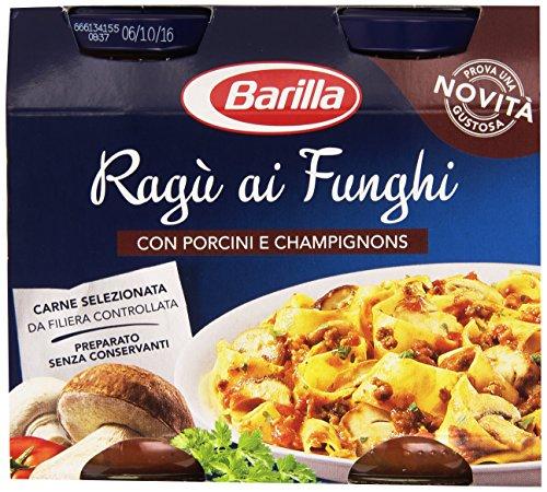 Barilla sugo ragù ai funghi, salsa pronta al pomodoro e carne con funghi porcini e champignons, senza glutine - 2x180 gr