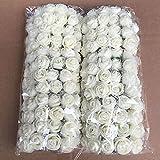 Künstliche Form Rose Blumen, woopower 144pcs 2,5cm Mini Blumenstrauß Rose Schaumstoff Blumen DIY Hochzeit Party Home Decor, Milchweiß, Free Size