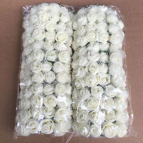 Forma rose fiori artificiali, woopower 144pz 2,5cm mini rose di schiuma fiori diy bouquet wedding party home decor, milk white, taglia libera