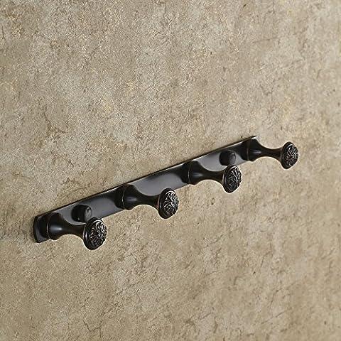 Tougmoo en cuivre américain Patère Bronze foncé Robe Crochet européen en cuivre Gig American Porte murale Noir, 4crochets