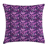 tgyew Violet Throw Pillow Cushion Cover, Ornamental Paisley Inspired Floral Pattern Eastern Style Rich Flourish, Decorative Square Accent Pillow Case, 18 X 18 inches, Dark Purple Violet Pink