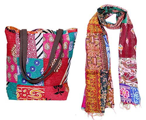 IndiWeaves Womens 1 Cotton Tote Bag With Canvas Handle and 1 Silk Patch Work Stole/Dupatta (Pack of 2)_Multicolor_Free Size (82100-18480200-147-IW-BAG)