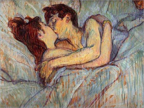 Poster 70 x 50 cm: In Bed The Kiss di Henri de Toulouse-Lautrec - stampa artistica professionale, nuovo poster artistico