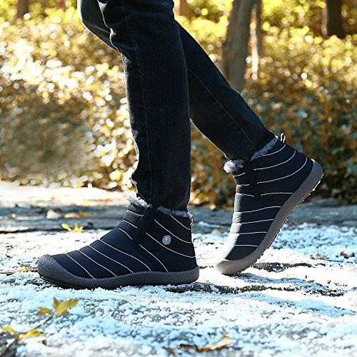 Minetom Unisex-Adulto Uomo Donna Primavera Invernali Pantofole Caldo Scarpe Impermeabili Foderate Stivali A Nero