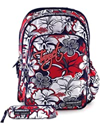 Backpack with Pencil Case Mochila Escolar, 44 cm, (Red/White/Grey