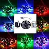 Bunt 5M LED Streifen, ANNT 3528 LED RGB Lichtband Licht Strip 60LEDs/m Lichterkette Innen mit Fernbedienung + EU Netzadapter für Fest, Party, Hausgarten und Dekoration