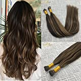 Googoo Remy Straight I Tip Cold Fusion Ombre Human Hair Extensions 1g/s 50 strands Dark Brown mixed Chesnut Brown Highlight Hair Extensions 16inch