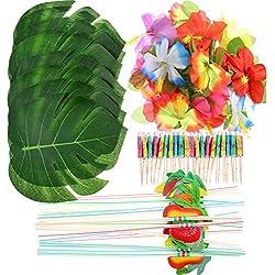 Frienda 148 Stücke Luau Themen Party Dekorationen, 24 Stücke Tropische Palmblätter, 24 Stücke Hawaiian Blumen, 50 Stücke Mischfarbe Regenschirme und 50 Stücke Bunte 3D Frucht Strohhalme