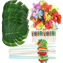 148 Piezas de Decoraciones de Fiesta Temática Luau, 24 Piezas de Hojas de Palma Tropicales