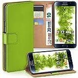moex Samsung Galaxy S6 | Hülle Grün mit Karten-Fach 360° Book Klapp-Hülle Handytasche Kunst-Leder Handyhülle für Samsung Galaxy S6 Case Flip Cover Schutzhülle Tasche