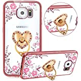 Samsung Galaxy S7 Edge Coque Rose Or,Samsung Galaxy S7 Edge Etui Bling en Tpu,Rose Pink Fleur Transparent Ultra Mince Silicone Etui Coque Cristal Clair Slim Flexible Tpu Case Cover Homme Femme Fille Brillante Glitter Sparkle Diamant Strass Case avec Coeur d'Amour Support JAWSEU Placage Flex Souple Gel Bumper Case Etui Housse Éclat Transparent en Caoutchouc Lisse Protecteur Couverture Cas Anti scratch Antidérapant et Anti poussière Soft Clear Case Cover+1*Noir Stylo Paillettes