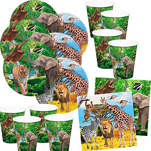 52-teiliges Party-Set (Folat) wilde Tiere - Safari - Löwe, Zebra, Giraffe, Elefant - Teller Becher Servietten für 16 Kinder