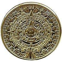 Calendario Maya Azteca Souvenir 24k chapado en oro Moneda conmemorativa Colección maya Calandrar acuñar