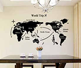 Decals Design 'World Map' Wall Sticker (PVC Vinyl, 90 cm x 60 cm, Black)