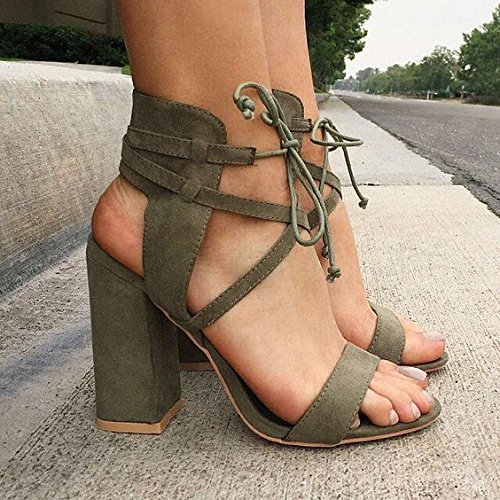 Rough Suede Sandalen Sandalen Chunky Heels Thick Cross Straps Army green