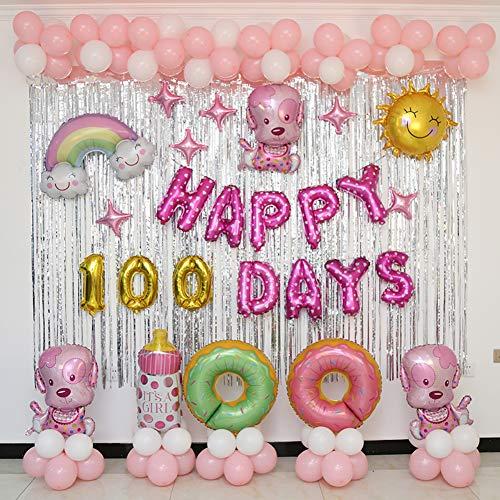 Color clasificado Aire y Helio Globos, Decoración de Cachorro Globos de Fiesta Conjunto Banner de Feliz cumpleaños para niño Fiesta Chica,Ducha de bebé,Decoración-B
