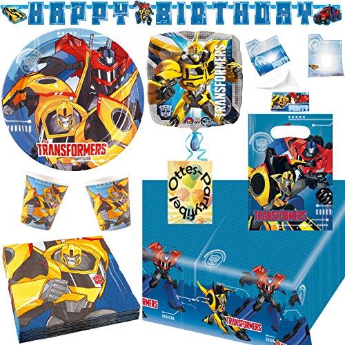 HHO Transformers RID Partyset mit Deko 87tlg. für 16 Kinder Teller Becher Servietten Tischdecke Tüten Einladung Folienballon Partykette (Dekorationen Party Transformers)