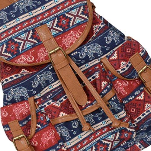 Longra Zaino nazionale della tela di canapa di stile della donna Multicolore_C